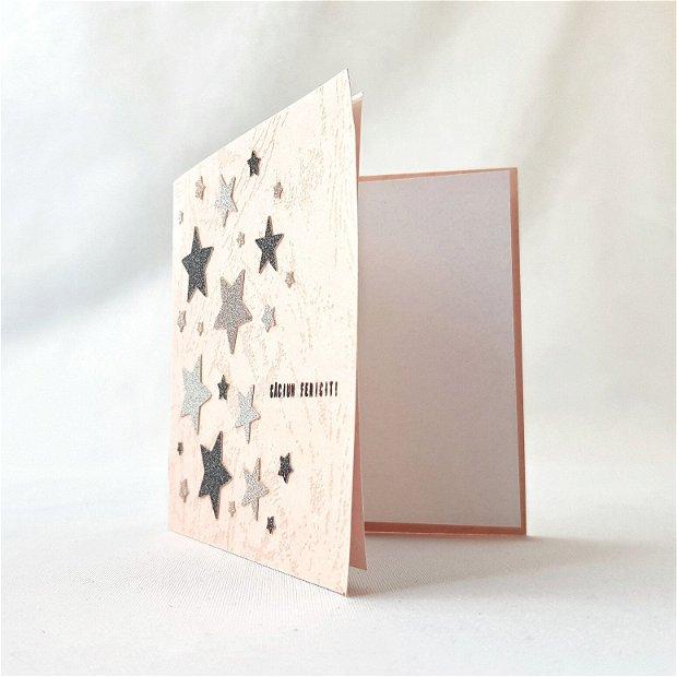 Felicitare cu steluțe sclipicioase (roz)