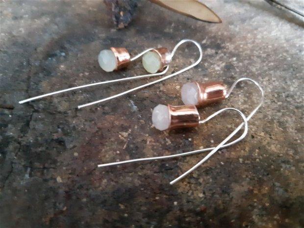 Cercei lungi din argint 925 ,cupru si cuart roz