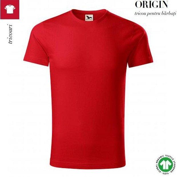 Tricou rosu, barbati, din bumbac organic, Origin