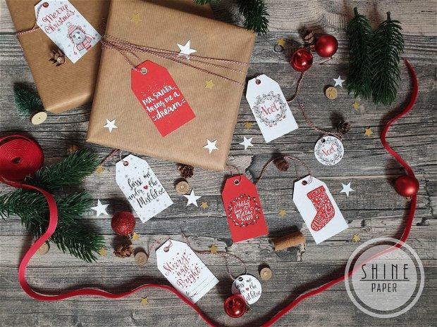 Etichete/ tag-uri cadou pentru Craciun, set de 7 buc