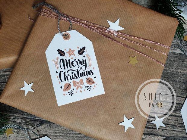Etichete/ tag-uri cadou pentru Craciun, set 8 buc