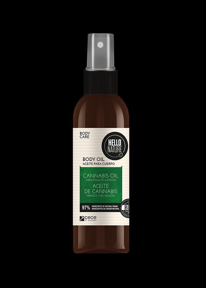 Ulei de masaj pentru corp cu ulei Bio de Canabis pentru Flexibilitate si Relaxarea pielii Hello Nature 130 ml cod.1535