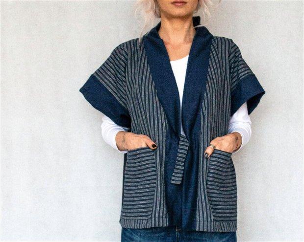 Blazer kimono denim stipes 1