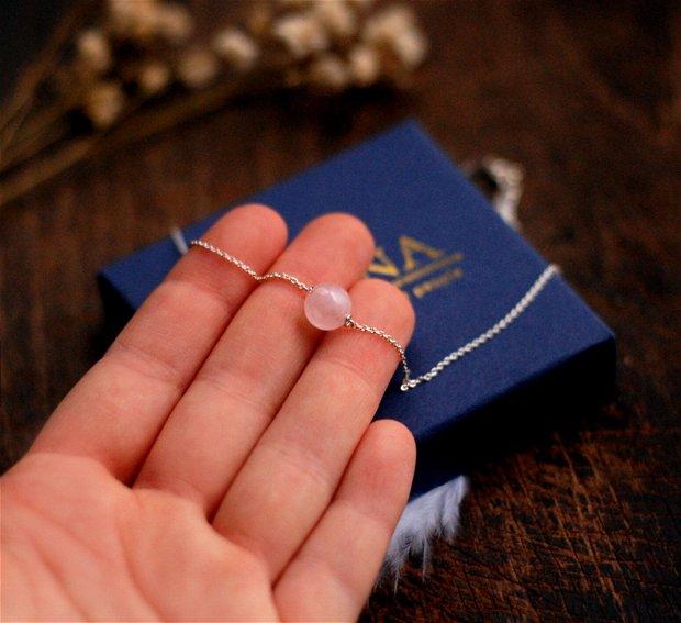 Colier din argint si piatra naturala cuart roz
