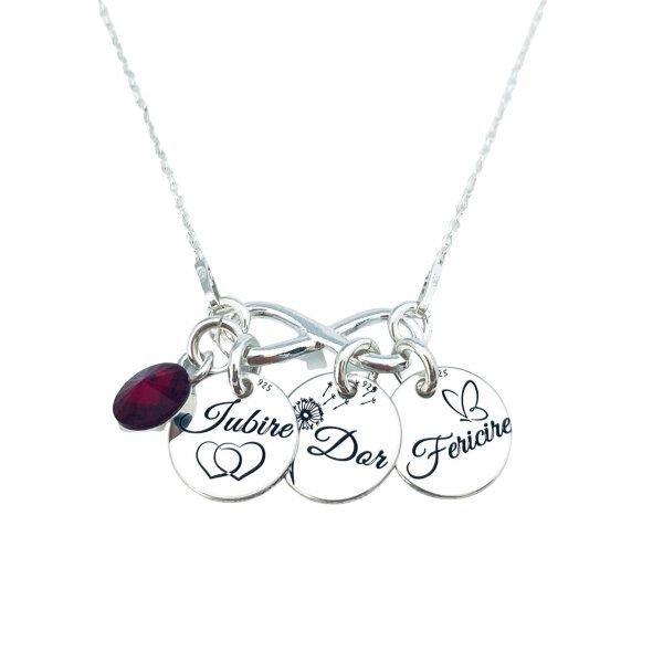 Iubire, Dor, Fericire - Colier personalizat Banuti argint, charm infinit si cristal Swarovski