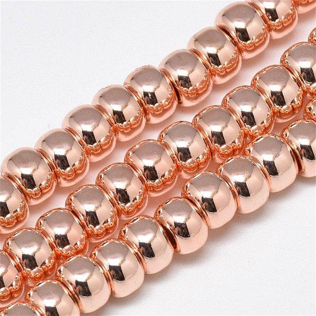 10 buc.Hematit rondele electroplacate,culoare aur roz-6X4mm SP961