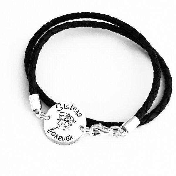 Bratara personalizata argint cu simbol Yin si Yang si initiale