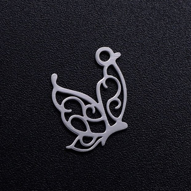 Pandantiv fluture otel inoxidabil 16x13x1mm  INOX 074