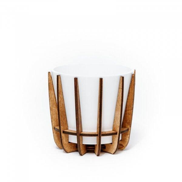 Set cu Masca Ceramica Alba pentru Ghiveci si Suport din Lemn