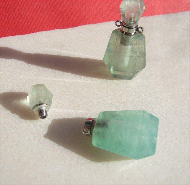 Sticluta din aventurin pentru parfum sau ulei esential aprox 13x20x26 mm - 36.5 - 37.5 mm (cu capacelul)