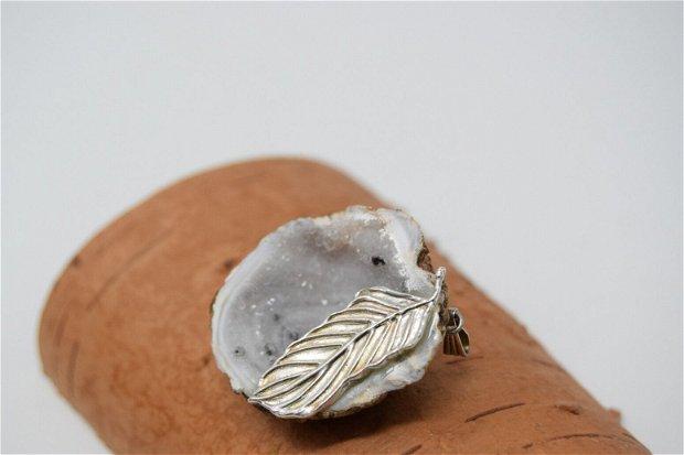 Pandantiv unicat din geoda agat cu cristal de cuart si argint
