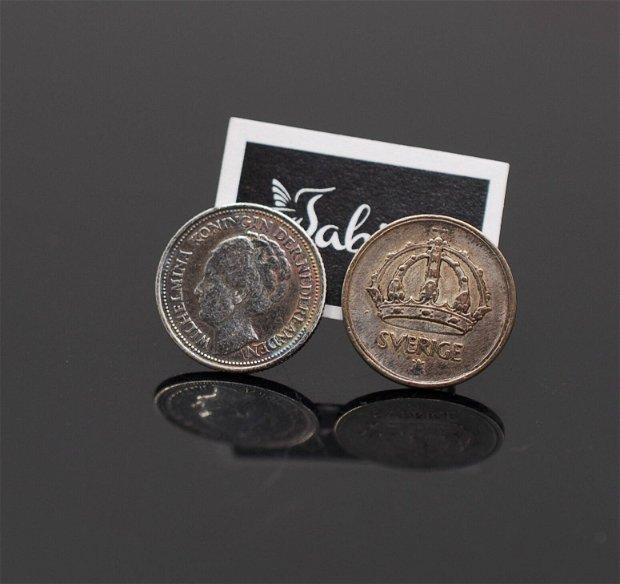 Cercei  din argint, din monede argint, din colectia Reversul monedei