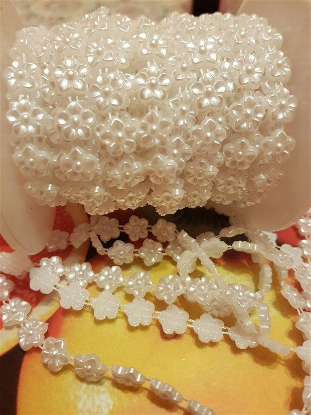 (1 m)Banda decorativa (1cm) cu floricele acrilice