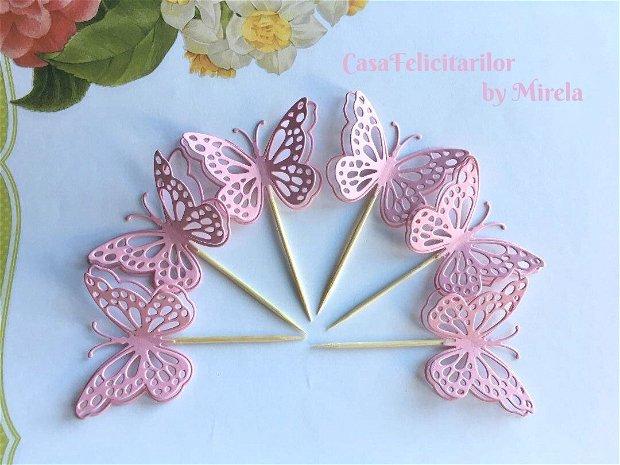 Toppers fluturasi dantelati roz