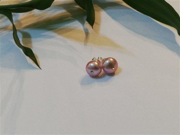 Cercei perle freshwater&rhinestone