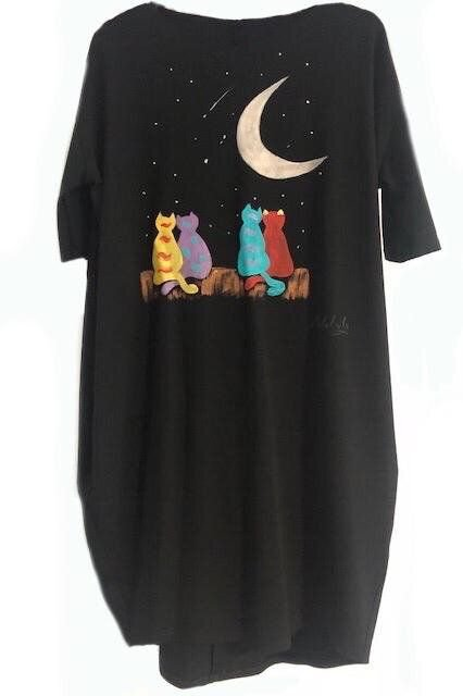 Rochie pictata manual Cats in The Night
