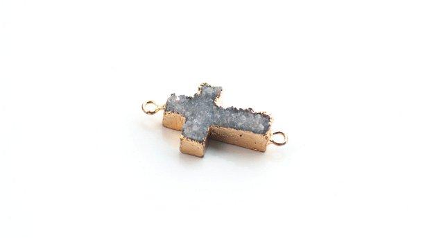 Link agat  druzy electroplacat aur - cruce