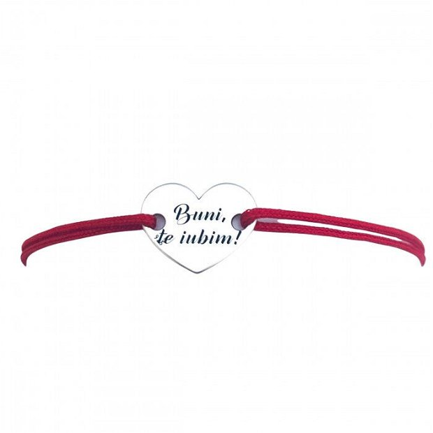 Pentru bunica - Bratara personalizata argint, snur reglabil, pandantiv inimioara
