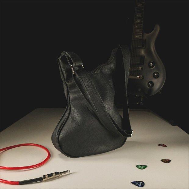 Geanta neagra chitara bass din piele ecologica