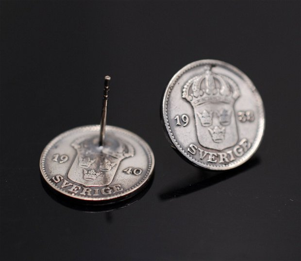 Cercei  din argint, din monede argint Suedia 25 ORE, din colectia Reversul monedei