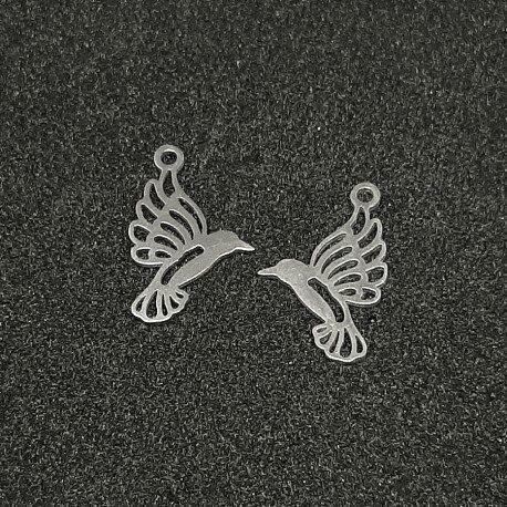 Pandant charm pasare colibri, otel inoxidabil 19x13x1mm Cod INOX 095