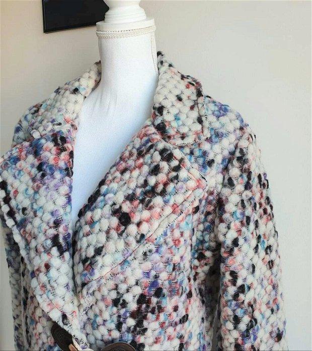 Palton Lana Colorat, Haina Lana Femei Iarna