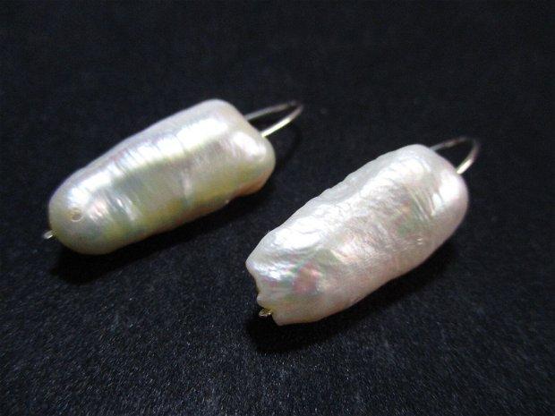 Cercei argint si perle de cultura albe lungi