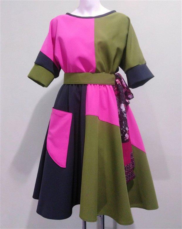 "Rochiță patchwork asimetric ""Miss Pinkiss"""