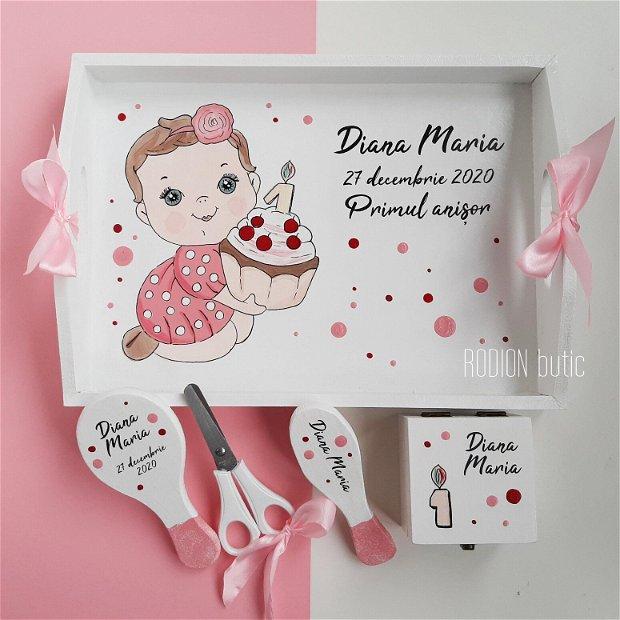 Tava turta fetita pictata manual personalizat cu nume