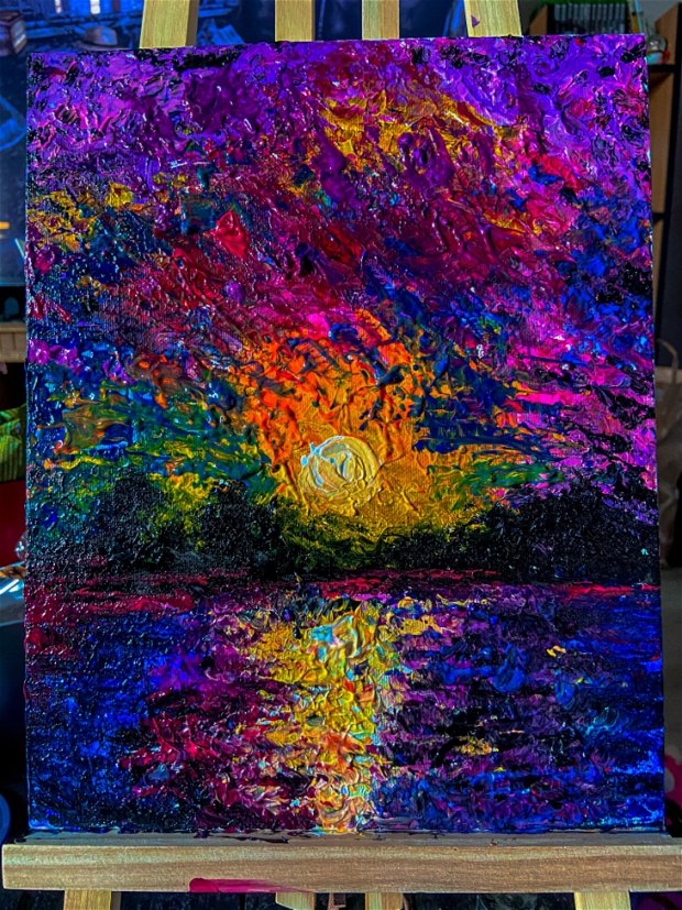 Pictura vibranta pe panza cu acryl