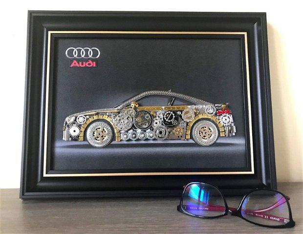 Masina model Audi Cod M 493, Cadouri masini, Cadou personalizat, Tablou steampunk mecanism ceas
