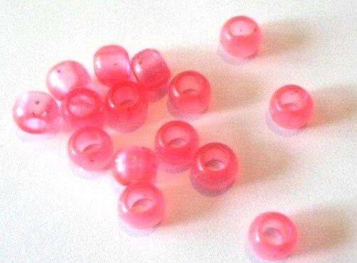 Margele plastice rondele roz transparent