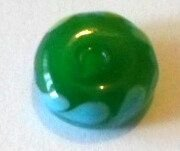 Margele plastice rondele plat verde inchis cu frunze blue