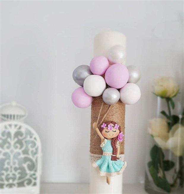 Lumanare botez fetița cu baloane