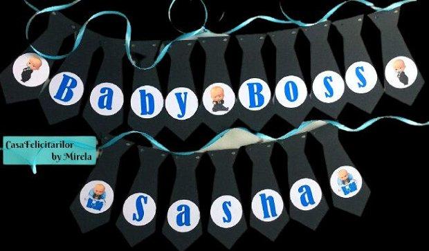 Ghirlanda decorativa pentru botez sau petreceri tematica Baby Boss