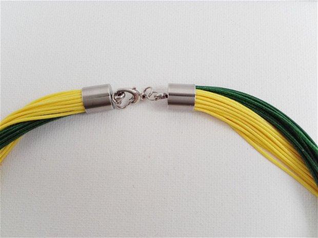 Colier snur cerat galben-verde
