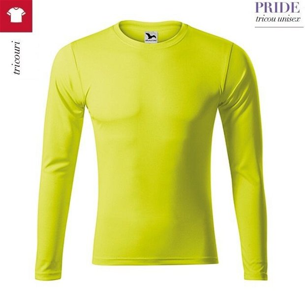 Tricou cu maneca lunga, galben neon, sport, unisex, Pride