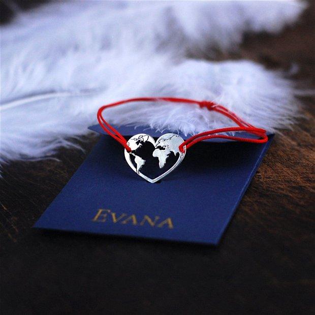 "Bratara snur rosu inima 16 mm "" You are my world"""