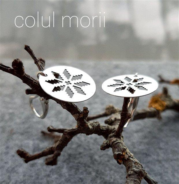 Cercei din argint 925 cu simbol tradițional Colul Morii 1.