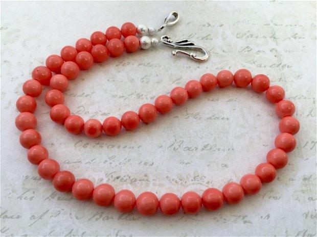 Colier perle de Mallorca somon
