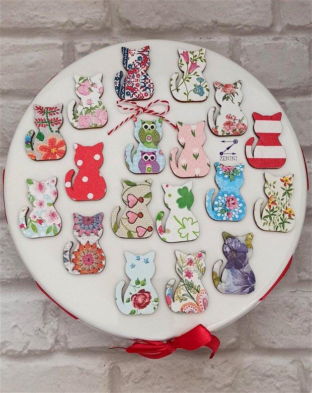 Martisor pisica, martisoare pisici, brosa pisica, brosa martisor, brosa flori, pisica flori