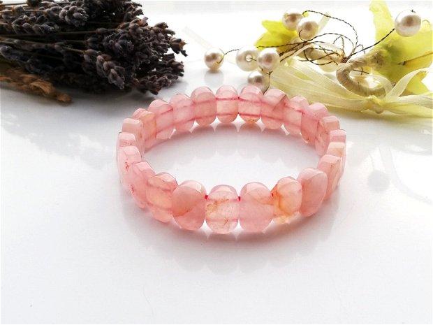 Bratara rose quartz