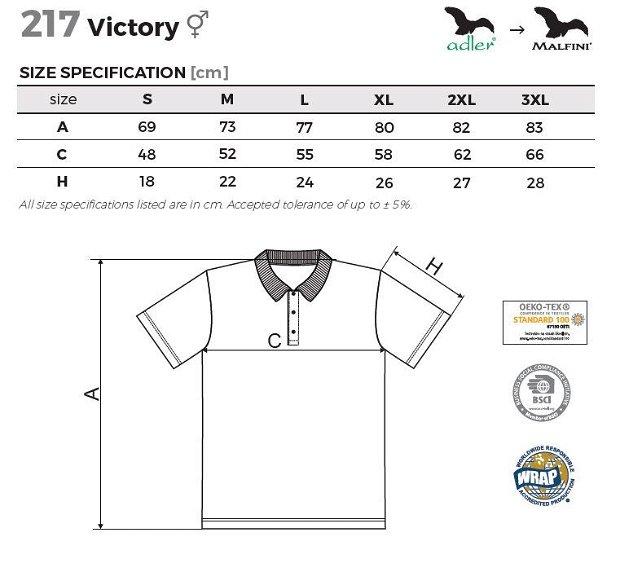 Tricou polo albastru marin unisex pentru sport, Victory