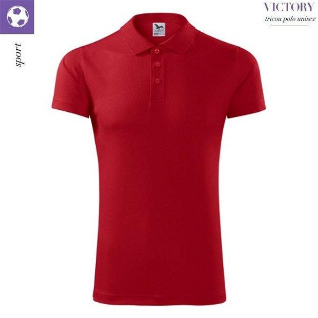 Tricou polo rosu unisex pentru sport, Victory