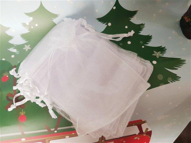 Săculeț organza alb 11x8,8cm