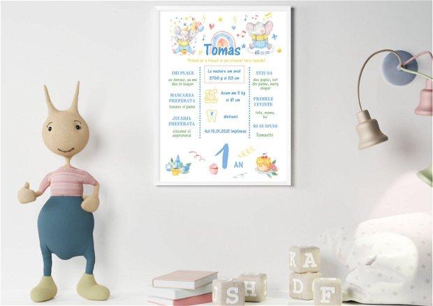 Tablou poster personalizat pentru prima aniversare | Rama bebe 1 an | Elefantul jucaus
