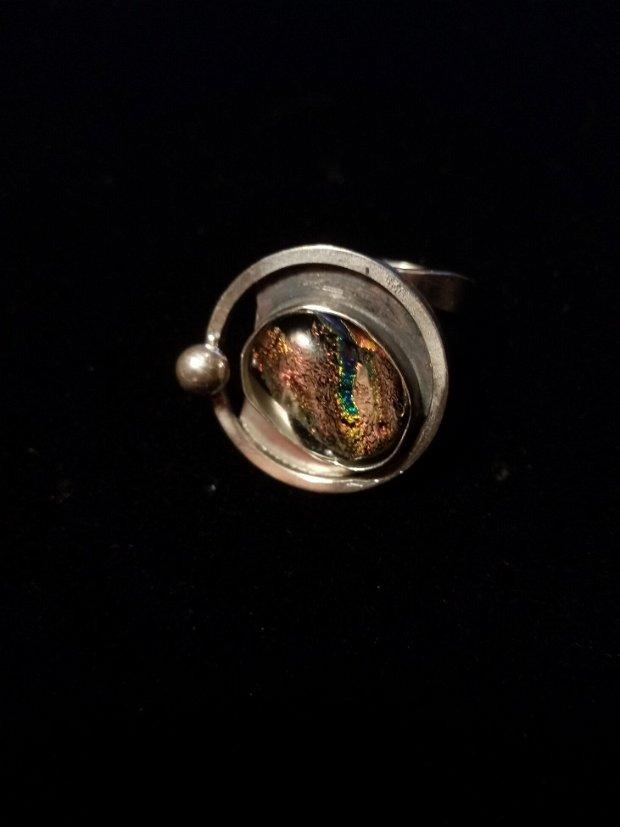 Inel argint cu sticla dicroica fuzionata
