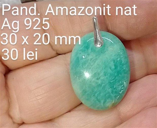 Amazonit natural , pandantiv,