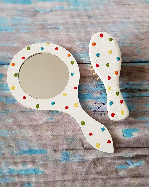 Set cu buline, set buline colorate, set perie oglinda si cutiuta buline, set buline fetita, set fetita colorat