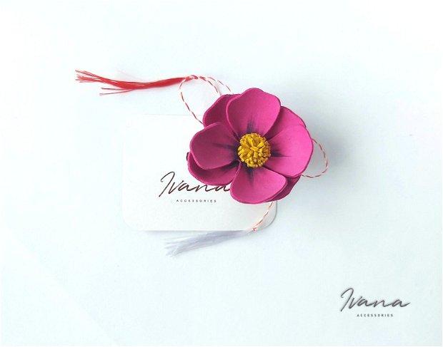Martisor floare piele ciclame
